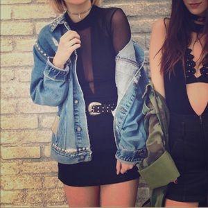 LF black mesh  top